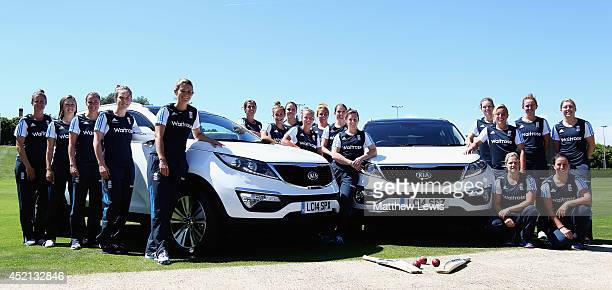 The England Womens Cricket team pose with two Kia cars at the ECB National Performance Centre on July 10 2014 in Loughborough England Kia motor car...