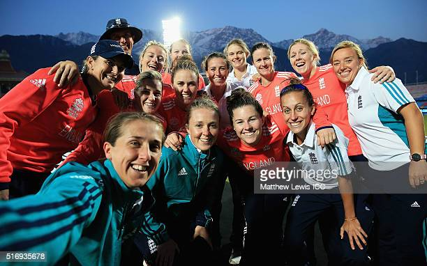The England Womens cricket team take a selfie after their win during the Women's ICC World Twenty20 India 2016 match between England and India at the...