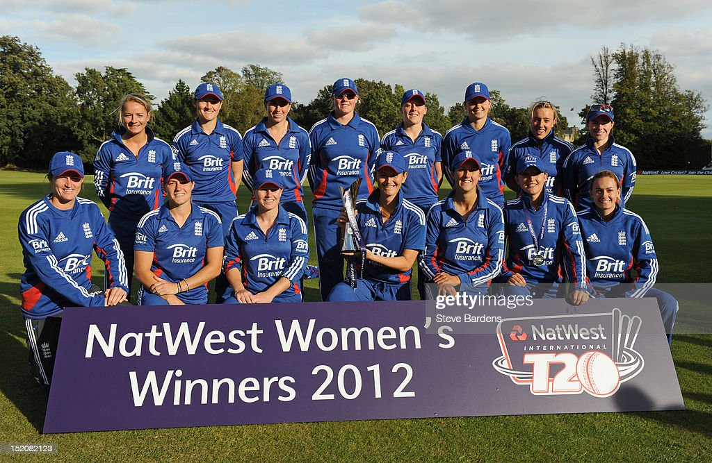 The England Womens Team celebrate the series victory with the NatWest International T20 Trophy after the NatWest Women's International T20 Series match between England Women and West Indies Women at Arundel on September 16, 2012 in London, England.