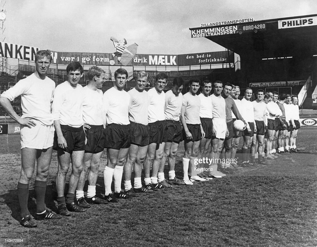 The England World Cup squad at a friendly against Denmark at the Parken Stadium, Copenhagen, 3rd July 1966. England won 2-0. Left to right: Jack Charlton, Martin Peters, Ron Flowers, Geoff Hurst, Bobby Moore, Norman Hunter, Gordon Banks, Peter Bonetti, Gerry Byrne, Ron Springett, Jimmy Armfield, Roger Hunt, Bobby Charlton, John Connelly, Jimmy Greaves, Alan Ball and Nobby Stiles.