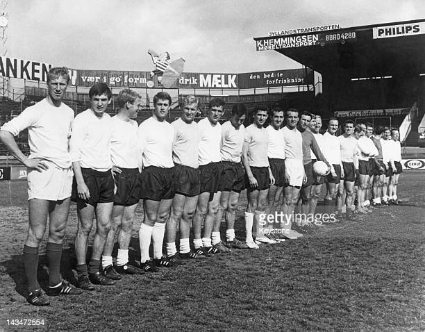 The England World Cup squad at a friendly against Denmark at the Parken Stadium Copenhagen 3rd July 1966 England won 20 Left to right Jack Charlton...
