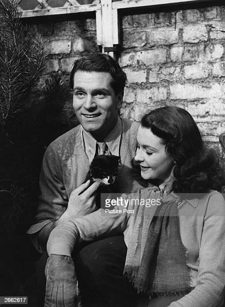 The English actor and director Laurence Olivier later Lord Olivier with his wife the English actress Vivien Leigh Original Publication Picture Post...