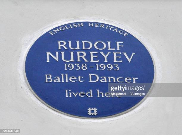 The English Heritage blue plaque to commemorate celebrated ballet dancer Rudolf Nureyev on his home in Victoria Road London