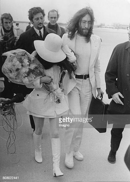 The English musician John Lennon and his wife Yoko Ono on their visit in Vienna They came to the film screening on Austrian television of their joint...