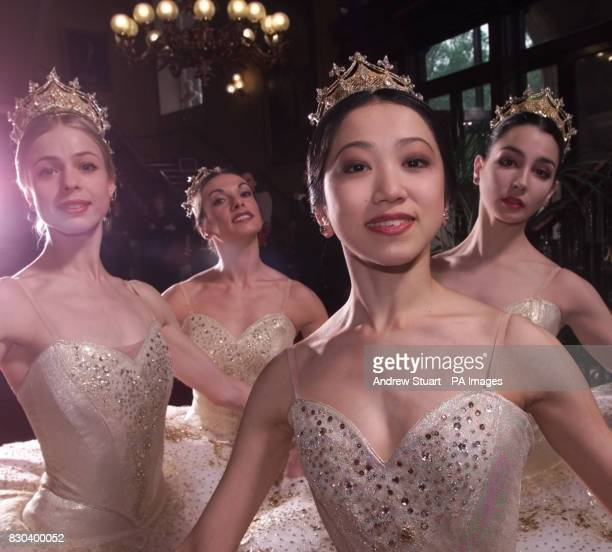 The English National Ballet presents the four ballerinas who will alternate in the starring role of Sleeping Beauty wearing identical golden tutus *...