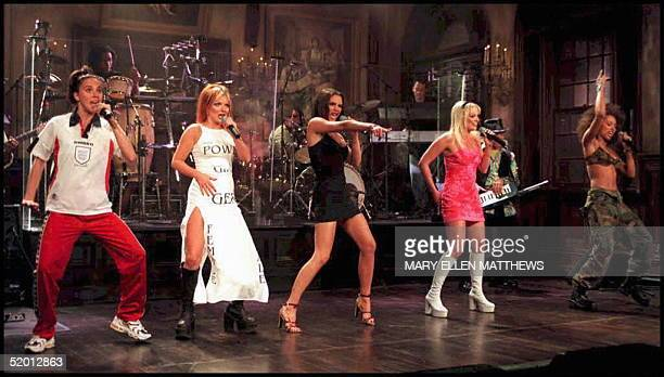 The English pop group The Spice Girls perform 12 April during a dress rehersal for the television show 'Saturday Night Live' in New York From left to...