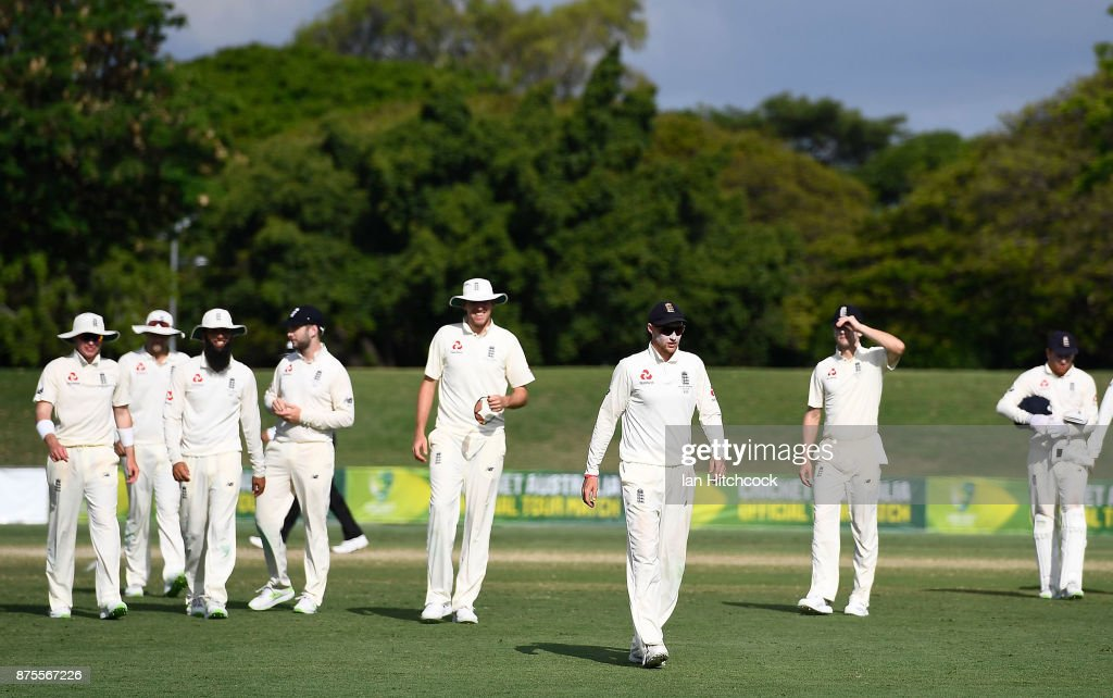 The English team walks from the field at the end of day 4 of the four day tour match between Cricket Australia XI and England at Tony Ireland Stadium on November 18, 2017 in Townsville, Australia. (Photo by Ian Hitchcock/Getty Images) Images)