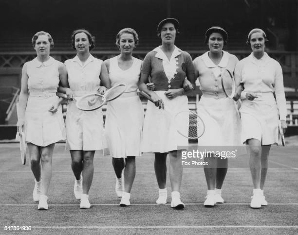 The English Wightman Cup tennis players at Wimbledon London 11th June 1936 From left to right Freda James Dorothy Round Mary Hardwick Evelyn Dearman...