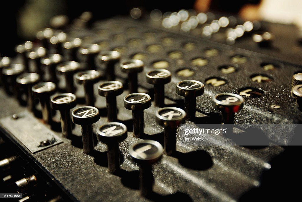 The Enigma coding machine that was used by the Germans in WWII on display at Bletchley Park National Code Centre, November 25, 2004 in Bletchley, England.