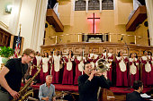 The Enrico Rava Quintet lead by Gianluca Petrella on trombone performs with the Convent Avenue Baptist Church Inspirational Ensemble at the Convent...