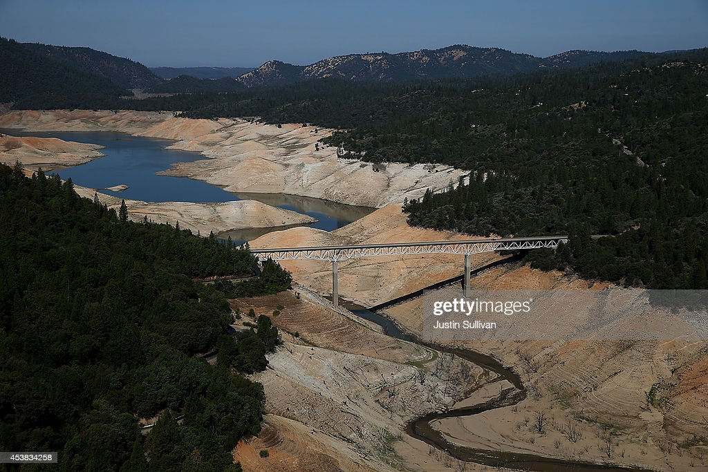 The Enterprise Bridge passes over a section of Lake Oroville that is nearly dry on August 19 2014 in Oroville California As the severe drought in...