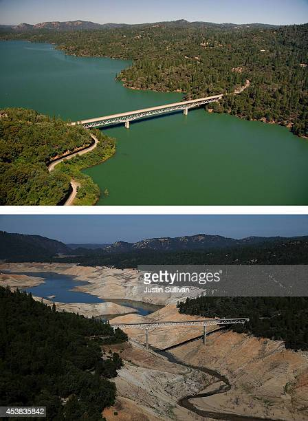 In this beforeandafter composite image The Enterprise Bridge passes over full water levels at a section of Lake Oroville near the Bidwell Marina on...
