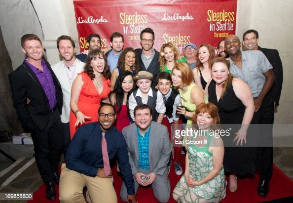The entire cast of 'Sleepless In Seattle' pose for a photo after their performance at the Pasadena Playhouse on June 2 2013 in Pasadena California