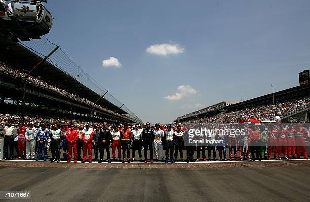 The entire grid of drivers is lined up on the yard of bricks prior to the start of the IRL IndyCar Series 90th running of the Indianapolis 500 on May...