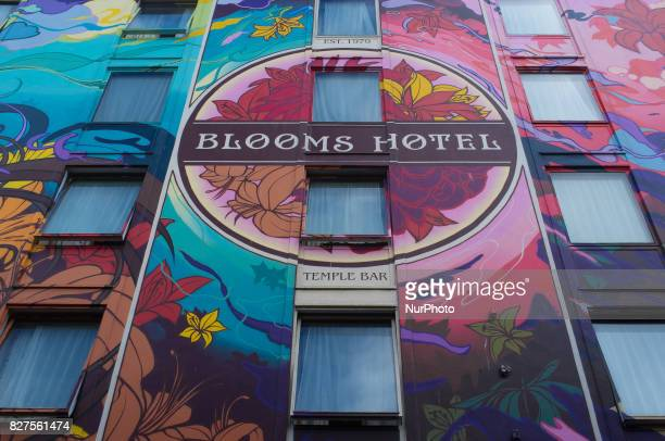 The entirely painted facade of a hotel is pictured in the iconic area of Temple Bar Dublin on August 5 2017 The area is the location of many Irish...