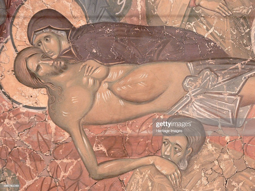 The Entombment of Christ ca 1380 Artist Ancient Russian frescos