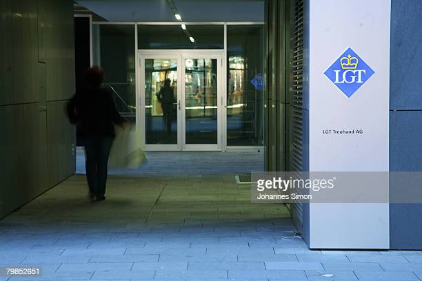 The entrance and company nameplate of the LGT Treuhand AG is seen on February 15 2008 in Vaduz Liechtenstein Suspected tax evader Klaus Zumwinkel CEO...