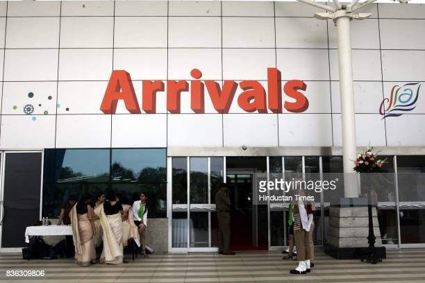 The entrance at the new arrival plaza at the Mumbai Airport Mumbai International Airport Pvt Ltd today officially unveiled the new domestic Terminal...