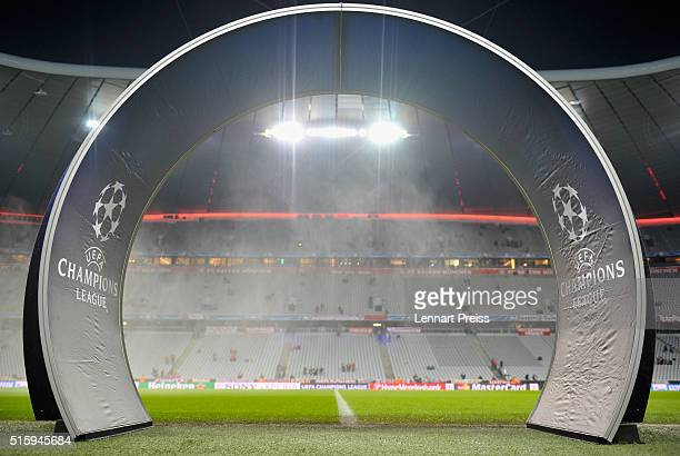 The entrance gate to the pitch is seen prior to the UEFA Champions League Round of 16 second leg match between FC Bayern Muenchen and Juventus Turin...