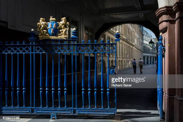 The entrance gates of Drapers' Hall livery company in Throgmorton Street on 17th Juy 2017 in the City of London England The Drapers Company is a...