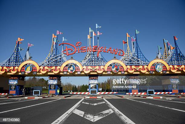 The entrance of DisneylandParis entertainment park is closed on November 15 2015 in Paris France As France observes three days of national mourning...