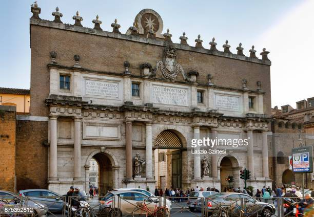The entrance of Piazza del Popolo is seen at Piazzale Flamino square on November 1 2017 in Rome Italy Rome is one of the most popular tourist...