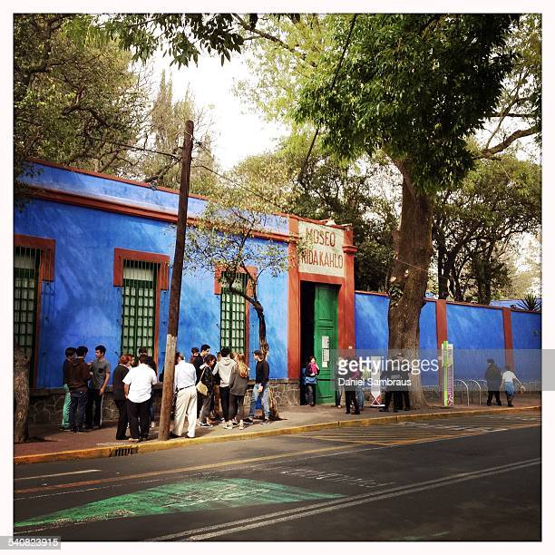 The entrance of the Casa Azul the birth and death place of the painter Frida Kahlo now a museum Coyoacan Mexico City Mexico