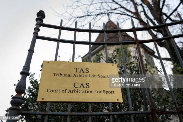 The entrance of the Court of Arbitration for Sport is seen on November 15 2017 in Lausanne / AFP PHOTO / Fabrice COFFRINI