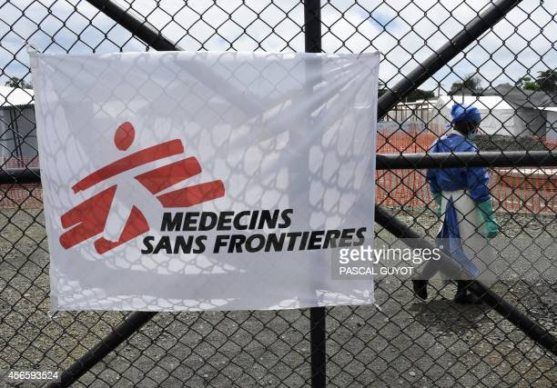The entrance of the Ebola treatment centre of aid agency Doctors Without Borders known by its French initials MSF on October 3 2014 where NBC...