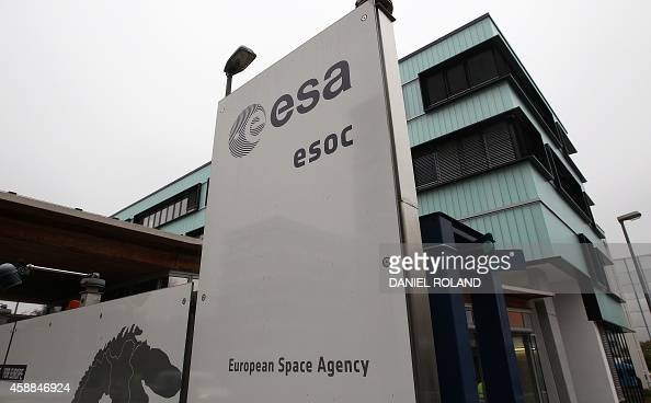 The entrance of the ESA/ESOC in Darmstadt western Germany is pictured on November 12 as European probe Philae is poised to land on a comet the...