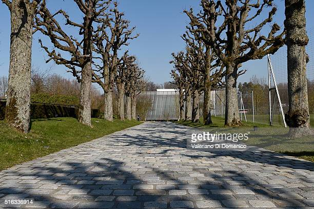 The entrance of the FIFA headquarters during the FIFA executive committee meeting at the FIFA headquarters on March 18 2016 in Zurich Switzerland