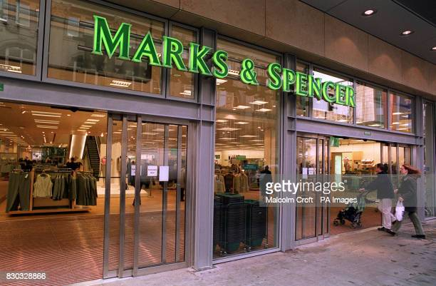 The entrance of the new Marks Spencer department store in the Arndale Centre Manchester rebuilt since the IRA bomb blast of 1996 destroyed a large...