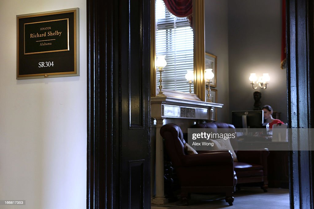 The entrance of the office of U.S. Sen. Richard Shelby (R-AL) at Russell Senate Office Building, where the hallway outside was temporarily evacuated, is seen April 17, 2013 on Capitol Hill in Washington, DC. U.S. Capitol Police were investigating three suspicious packages in the Hart and Russell Senate Office buildings, one of which was delivered to Shelby's front office.