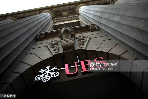 The entrance of the Swiss banking giant UBS main headquarters is seen on September 15 2011 in the center of Zurich UBS revealed that a rogue trader...