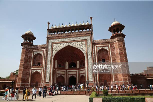 The entrance of the Taj Mahal is pictured on April 16 2016 in Agra India This is the last engagement of the Royal couple after a week long visit to...
