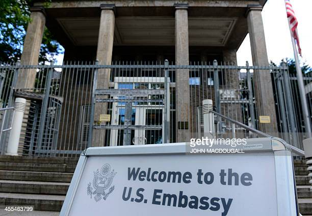 The entrance of the US Embassy in Berlin's Clayallee is pictured on September 13 after emergency services evacuated the visa section of the consulate...