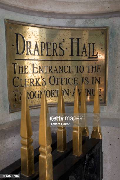 The entrance plaque of Drapers' Hall livery company in Throgmorton Street on 17th Juy 2017 in the City of London England The Drapers Company is a...