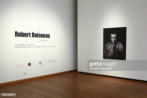 The entrance room with a portrait of Robert Doisneau pictured during the 'Robert Doisneau Fotografien' press conference and exhibition preview at...