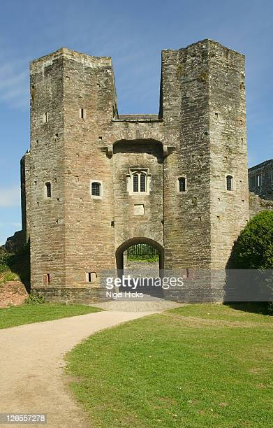 The entrance to Berry Pomeroy Castle, this fine 15th-century defence was once a stronghold of the Pomeroy family but was abandoned circa 1700 and is reputedly the most haunted castle in Britain, near Totnes in Devon