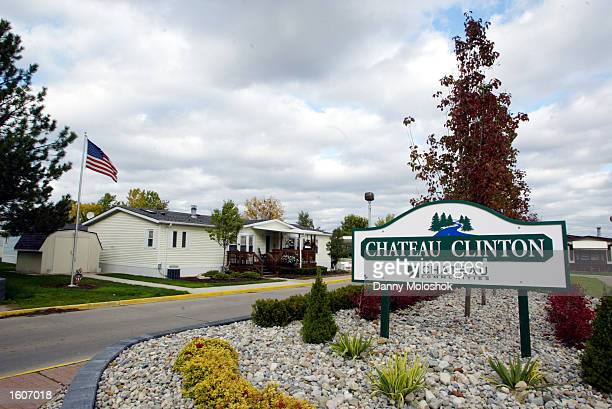 The entrance to Chateau Clinton what is believed to be the mobile home park where Eminem grew up is seen October 19 2002 in Sterling Heights Michigan