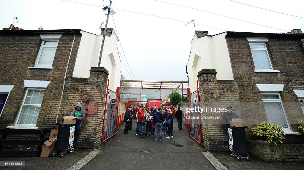 The Entrance to Griffin Park, situated between a row of houses in the npower League One match between Brentford and Preston North End at Griffin Park on March 16, 2013 in London, England,