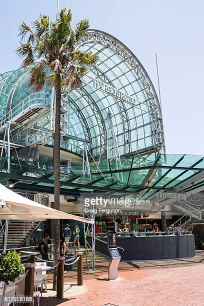 The entrance to Harbourside Shopping Centre The site contains retail stores restaurants bars and cafes in Sydney's Darling Harbour a prime tourist...
