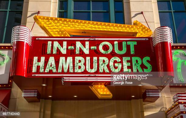 The entrance to InNOut Hamburgers located in The Linq Promenade is viewed on May 31 2017 in Las Vegas Nevada Tourism in America's 'Sin City' has...