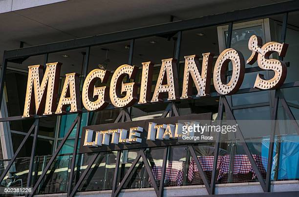 The entrance to Maggiano's Italian restaurant in a Las Vegas Blvd strip mall is viewed on December 7 2015 in Las Vegas Nevada Tourism in America's...