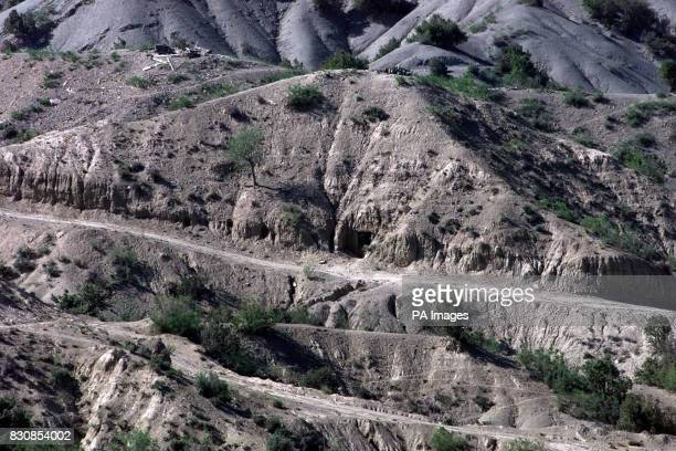 The entrance to one of the caves in Afghanistan where British Royal Marines found what their commander Brigadier Richard Lane described as a large...