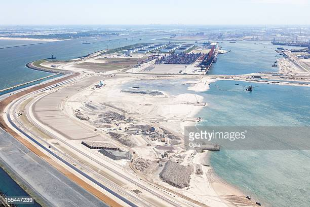 The entrance to Rotterdam with second maasvlakte aerial