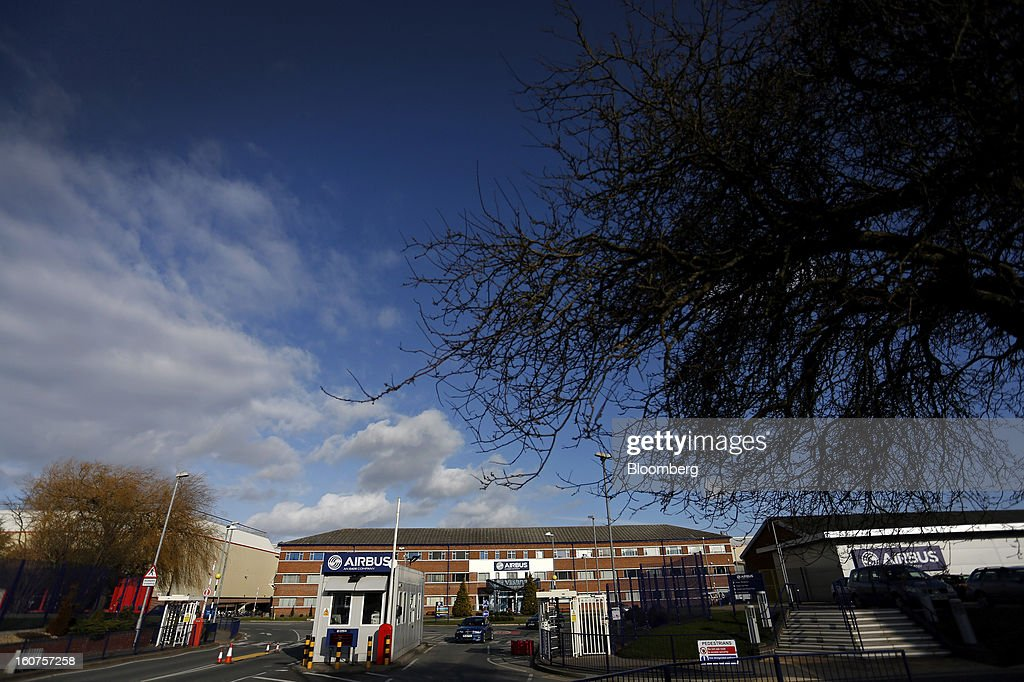 The entrance to the Airbus wing assembly factory is seen in Broughton, U.K., on Monday, Feb. 4, 2013. Airbus SAS won a $9 billion order from Steven Udvar-Hazy's Air Lease Corp. that includes 25 A350 wide-body jets, a competitor to Boeing Co.'s grounded 787 Dreamliner. Photographer: Paul Thomas/Bloomberg via Getty Images