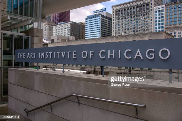 The entrance to the Art Institute of Chicago on Michigan Avenue in Millennium Park is shown on March 26 2013 in Chicago Illinois Visitors to the...