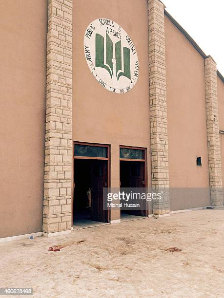 The entrance to the auditorium of an armyrun public school that was targeted by Taliban militants in a deadly assault that claimed the lives of 141...