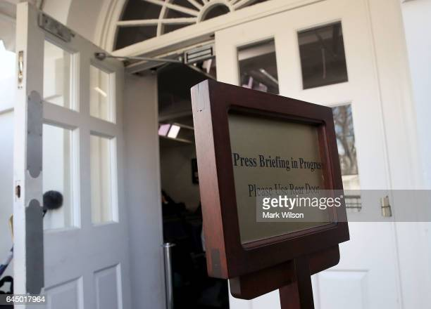 The entrance to the Brady Briefing Room after reporters were excluded from a press gaggle by White House Press Secretary Sean Spicer on February 24...